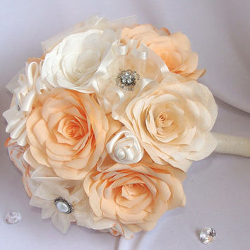 Peach Bouquets, Peach and Cream Bridal bouquet, Wedding bouquet, Paper Bouquet, Alternative bouquets, Fake bouquet, silk bouquet, corsages