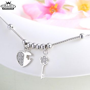 100% Real 925 Sterling Silver Love Lock key Anklets Chain Beach Foot Jewelry Barefoot Sandals Ankle Bracelets For Women Girls