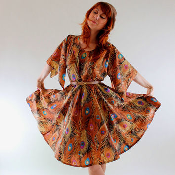 Sale 1960s Dress Brown Feather Peacock Print Boho by gogovintage
