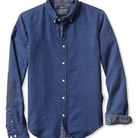 Tailored Slim-Fit Denim Elbow-Patch Button-Down Shirt