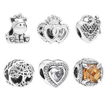 2018 Autumn Family Roots/Unicorn/Heart Locket Charm fits pandora Charm Bracelet Silver 925 original Beads DIY Making Jewelry.