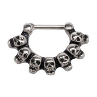 Steel Skull Filigree Septum Clicker