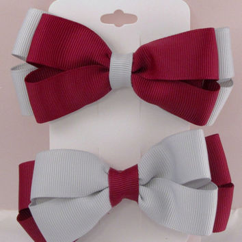 Grey on maroon 4 inch stacked hair bow your school colors or cheer on your favorite collage or NFL AFL team