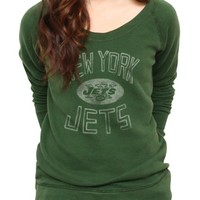 NFL New York Jets Vintage Off the Shoulder Fleece - Women's Collections - NFL - New York Jets - Junk Food Clothing