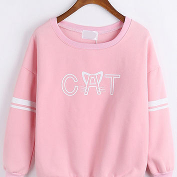 Pink Letter Print Long Sleeve Sweatshirt
