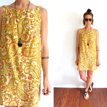 Gold Paisley Print 60's Mini MOD Shift Dress