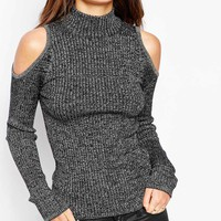 New Look Ribbed Cold Shoulder Roll Neck Top