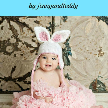 crochet pattern easter bunny hat with earflap  sizes newborn-1 years.