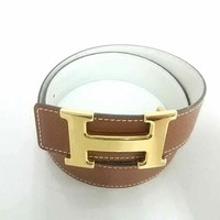 Auth HERMES H Belt Brown Gold Leather & Hardware Square A Belt