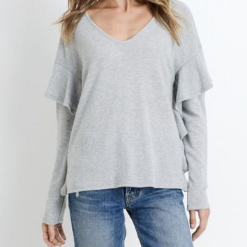 Ruffled Belle Sleeve Sweater- 2 Colors
