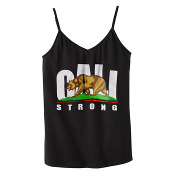 CALI Strong Black Shelf Bra Tank Top