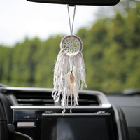Mini white and beige dreamcatcher // rear view mirror hanging // 2 inch hoop // Attrape rêves // crochet dreamcatcher