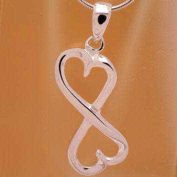 Solid Sterling Silver Lovely Double Heart Pendant 925 Hallmark Charm Beautiful Elegant Gently Marvelous Incredible Handmade Handcrafted