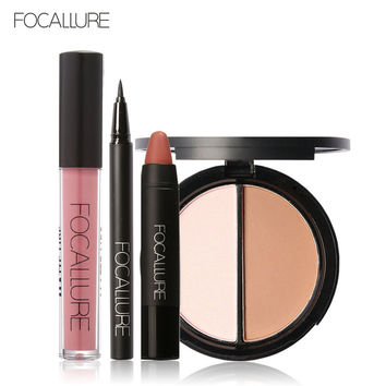 FOCALLURE New 4Pcs Easy Lip Makeup Black Eyeliner Pencil Matte Lip Gloss Sexy Matte Lip Sticker Face Bronzer Highlighter Palette