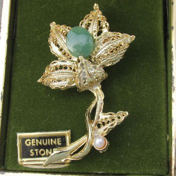 Gold Filled Filigree Vintage Jade & Cultured Pearl Pin, 1960's MINT In Box!