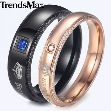 Trendsmax Couples Rings Stainless Steel Black Rose Gold Tone Paved Blue Clear CZ Wedding Band Queen King Rings For Women KKRM39