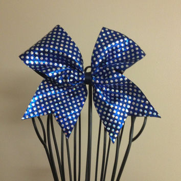 Navy Holo Dots Cheer Bow by MeSuesGifts on Etsy