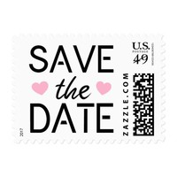 Pink hearts modern Save the Date postage stamp
