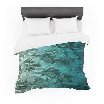 "Ebi Emporium ""Forever Flowers, Teal Ombre"" Teal Gray Watercolor Featherweight Duvet Cover"