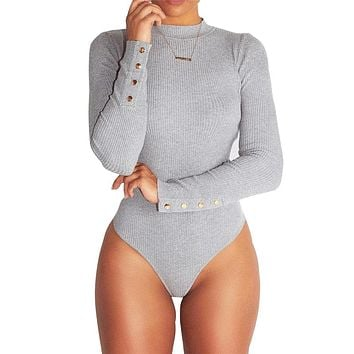 Women Gray Turtleneck bodysuit Black Jumpsuit Rompers 2018 Winter Sexy Long sleeve jumpsuits playsuits Female Bodycon Overalls