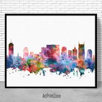 Nashville Skyline, Nashville Print, Nashville Tennessee, Office Decor, City Skyline Prints, Skyline Art, Cityscape Art, ArtPrintZone