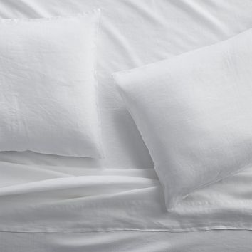 Lino II White Linen Sheets and Pillow Cases