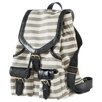 Bueno Stripe Canvas Backpack - Grey/Black