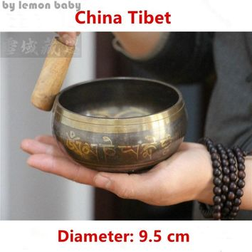 Copper Buddha Sound Bowl Alms Tibetan Meditation With Hand Stick Metal Crafts