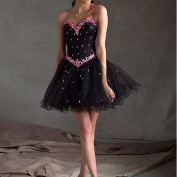 [89.99] Stunning Tulle & Satin Sweetheart Neckline Short A-line Homecoming Dress - dressilyme.com