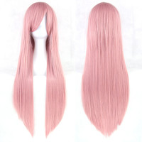 24 Colors 80CM Women Anime Cosplay Wigs Heat Resistant Straight Wigs Pink Yellow White Blonde Purple Black Blue Red Wigs