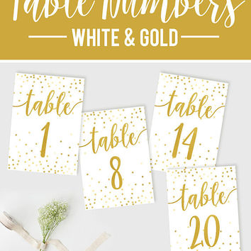 Wedding Table Numbers, Gold Table Numbers, Reception Confetti Table Numbers, DIY Wedding, Printable Table Numbers, Rustic Wedding