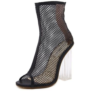 Peep Toe ankle sandals boots crystal square heels women s Mesh H 588aabb9bd73