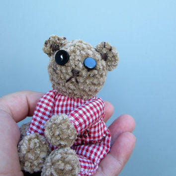 Scrappy art teddy bear, bear toy, unique crochet bear,  amigurumi, just for you, couples gift, plush bear, hand sewn, embroidered heart