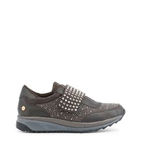 Xti Grey Round Toe Leather Sneakers