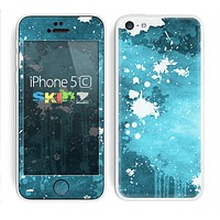 The Abstract Bleu Paint Splatter Skin for the Apple iPhone 5c