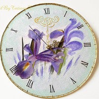 Iris Flower Decoupage Handmade Wall Clock on Vinyl Record Violet Green Floral Home Decor Gift for Her