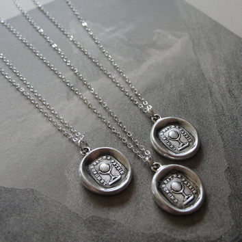 The World Is My Home - wax seal necklace with globe - antique French wax seal jewelry in fine silver
