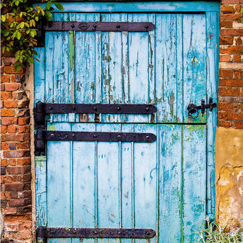 Rustic Wall Art, Distressed Wood, Blue Texture,  Barn Door Photograph, Blue Crackled Paint, Photographic Print, Kitchen Decor