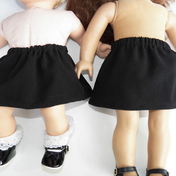 """American Girl 18"""" or Bitty Baby Clothes 15 inch Doll Clothes Black Elastic Waist Pull On Fall Fashion Autumn Winter Skirt"""