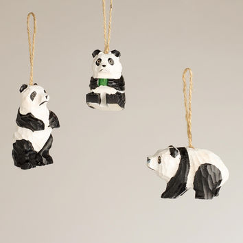Wooden Panda Ornaments,  Set of 3 - World Market