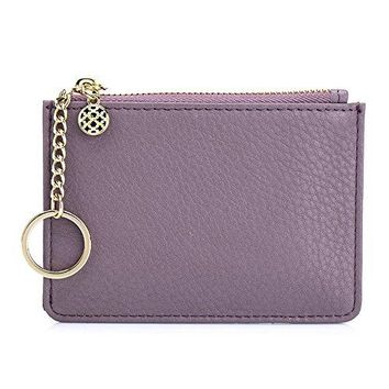 Aladin Leather Coin Purse with Key Chain Womens Small Zipper Card Holder Wallet