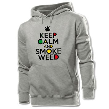 Keep Clam and Smoke Weed Cotton Pattern Printed Hoodie Men's Boy's Graphic Sweatshirt Tops White Yellow Grey