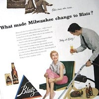 1950s Blatz Beer Print Ad / Retro Advertisement / Ready to Frame / Paper Ephemera / Christmas In July