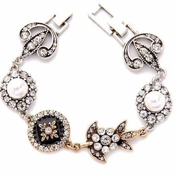 Black Bloom Charm Bracelet