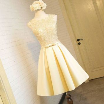 DCCKJ1A New fashion evening dress short paragraph gold lace small dress female