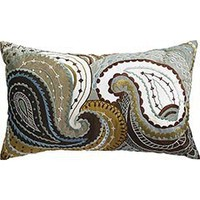 Pier 1 Imports - Product Detail - Embroidered Paisley Pillow - Blue
