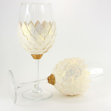 White Gold Wine Glasses, Elegant Dining, Leaf Decor,Custom Wine Glasses,Wedding Gift, Handmade Wine Glasses,Engagement Gift ,Unique Wine