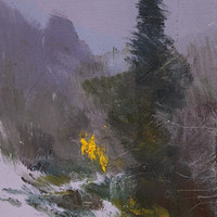 Abstract landscape painting,  Small nature oil painting - Grey yellow mountain