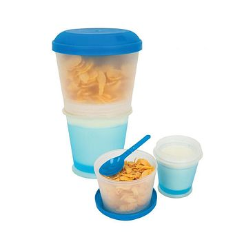 17OZ Cereal To Go Plastic Snack Cup with Lid Foldable Spoon Gel Keep Milk Cold 2 Layers Corn Flake Food Container BPA free HK071