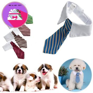 Cat Dog Grooming Striped Bow Tie Collar Pet Adjustable Neck Tie White Collar Dog Necktie Party Wedding Dod Cat Accessories